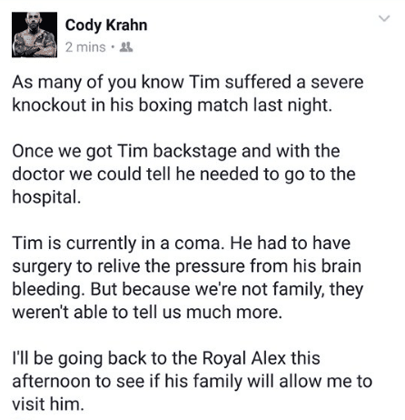 Hague's friend Cody Krahn gave an update on Facebook but later deleted the post