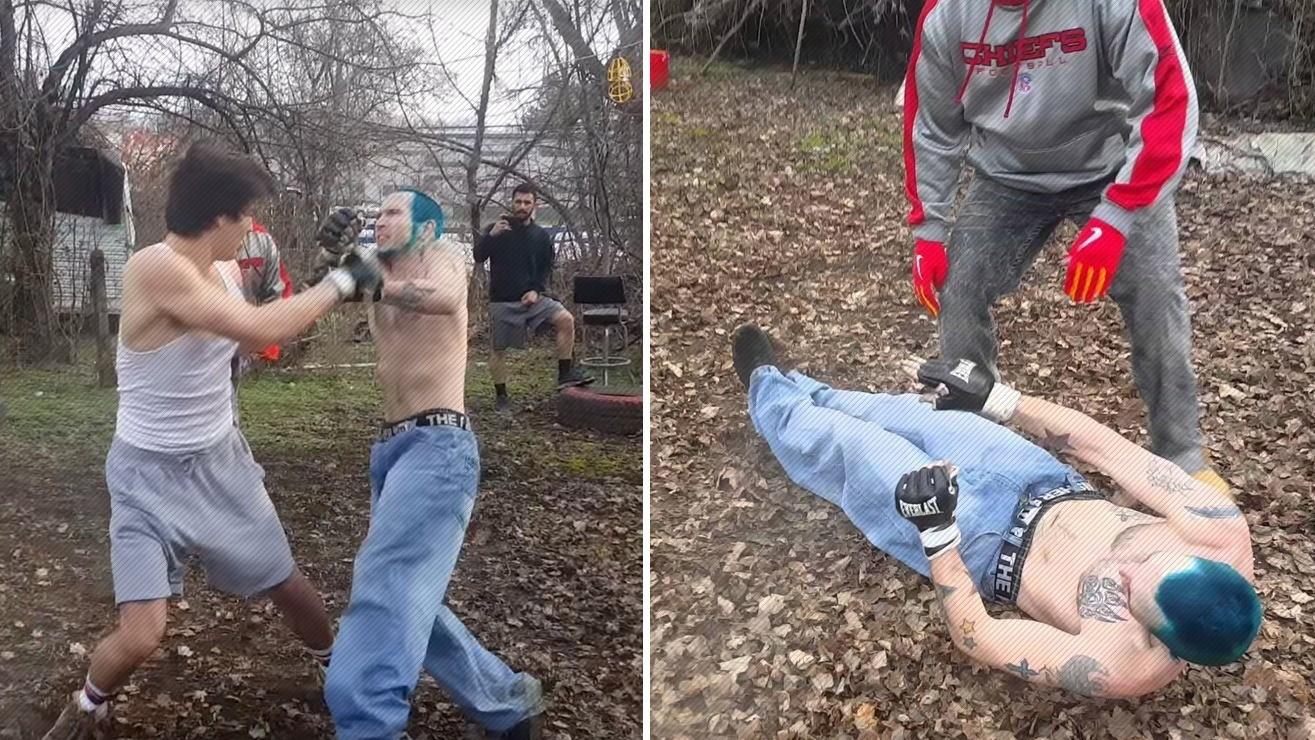 watch backyard fight ends with seizure inducing knockout insane