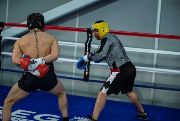 McGregor sparring with Paulie Malignaggi