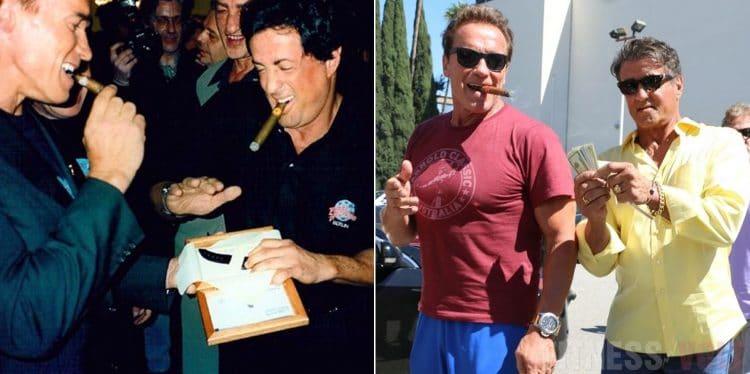 Arnold Schwarzenegger And Sylvester Stallone Cigar