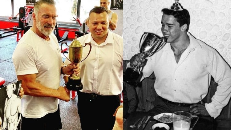Arnold Schwarzenegger reunited with his lost 1969 Mr. Universe Trophy