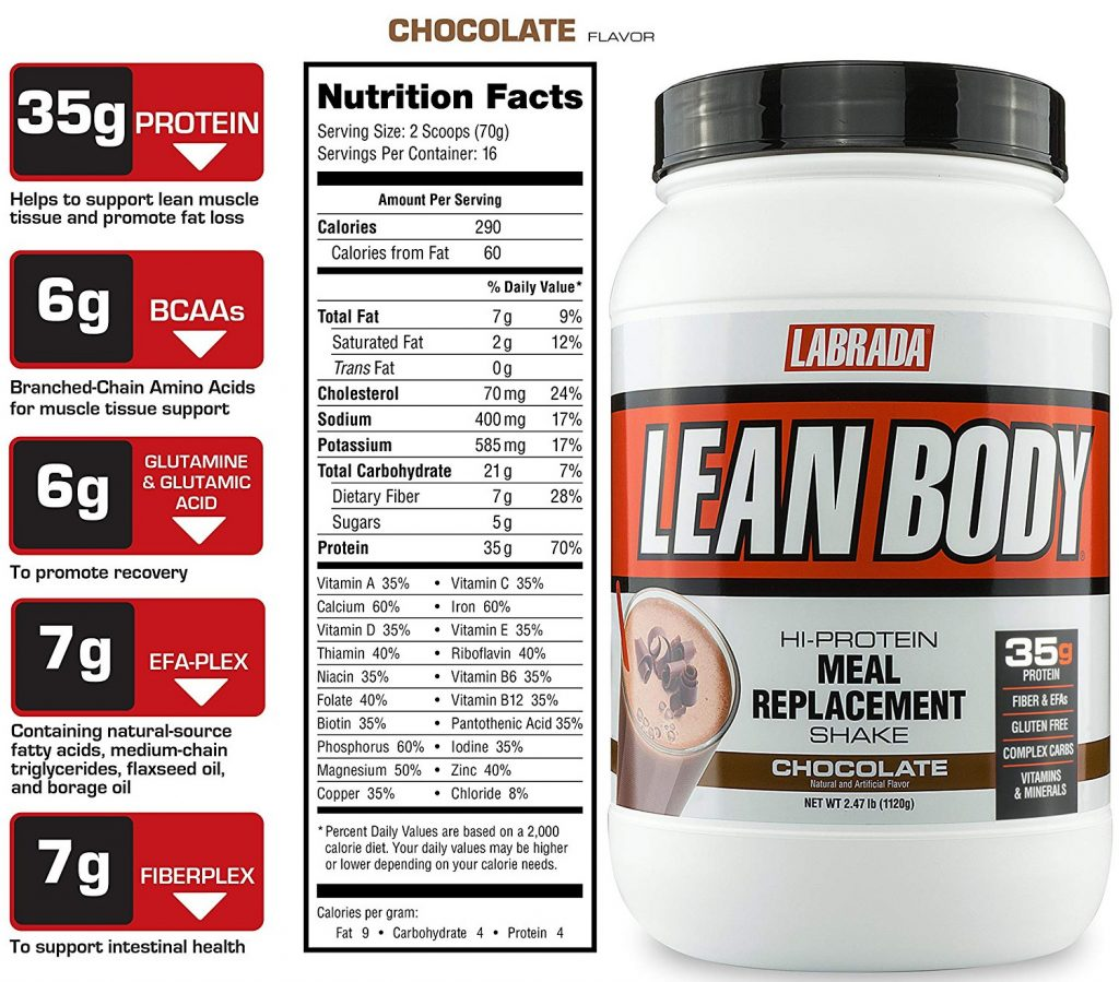 Labrada Lean Body Nutrition and Ingredients