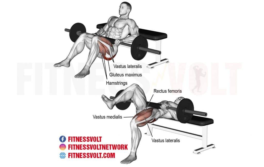 Awesome Barbell One Leg Hip Thrust Glutes Fitness Volt Machost Co Dining Chair Design Ideas Machostcouk