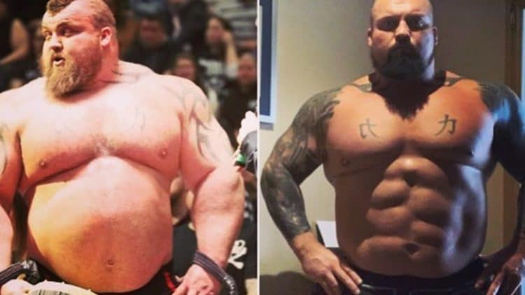 Eddie Hall Showing Off His Super Jacked Abs After Transformation