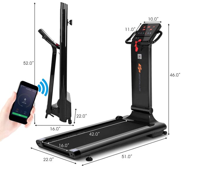 Goplus 1.5HP Electric Folding Treadmill with App