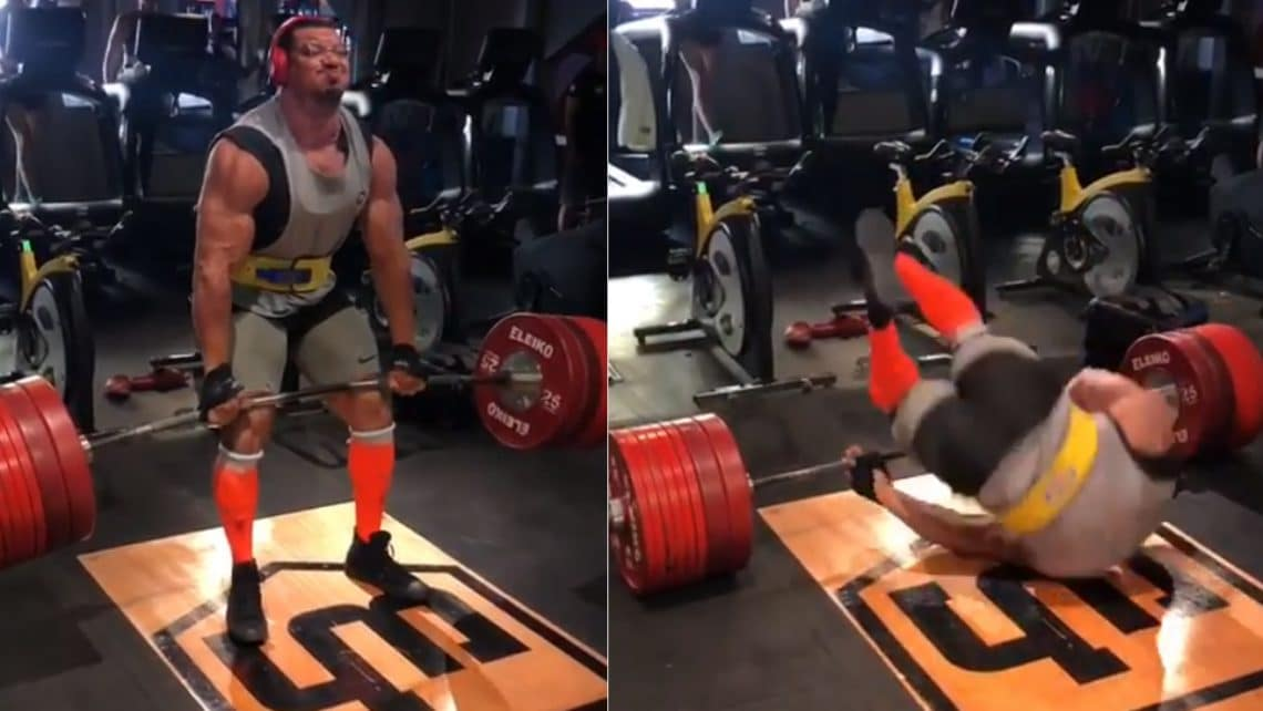 Larry Wheels' deadlift try ends with him on his again!