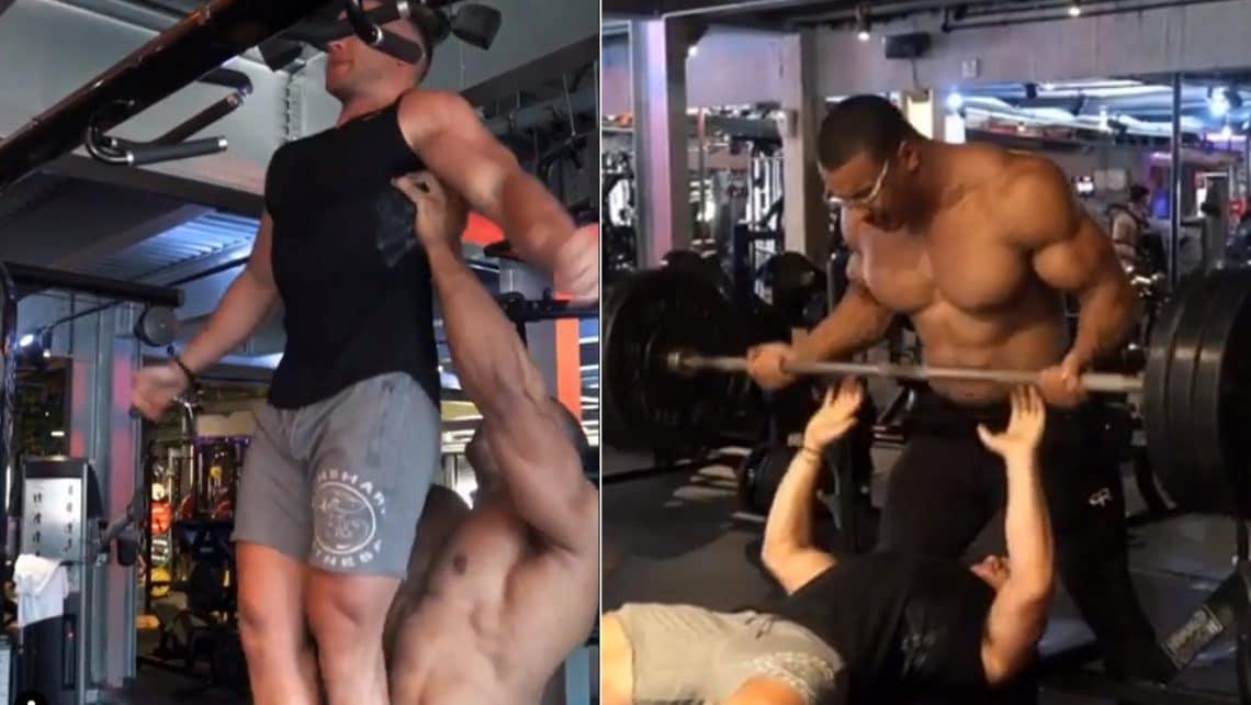 Watch Larry Wheels Spot Training Partner Like You've Never Seen Before