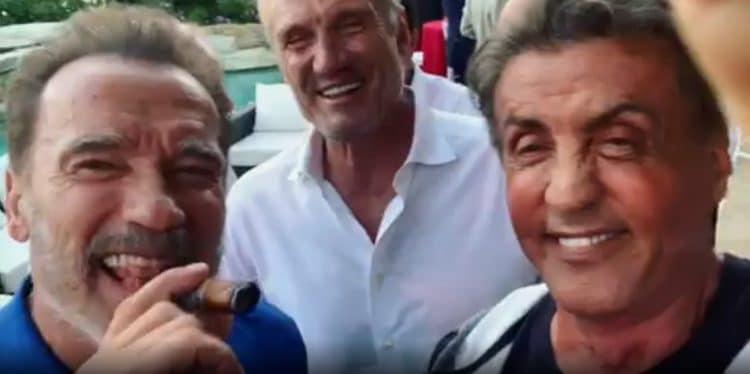Arnold Schwarzenegger Sylvester Stallone and Dolph Lundgren