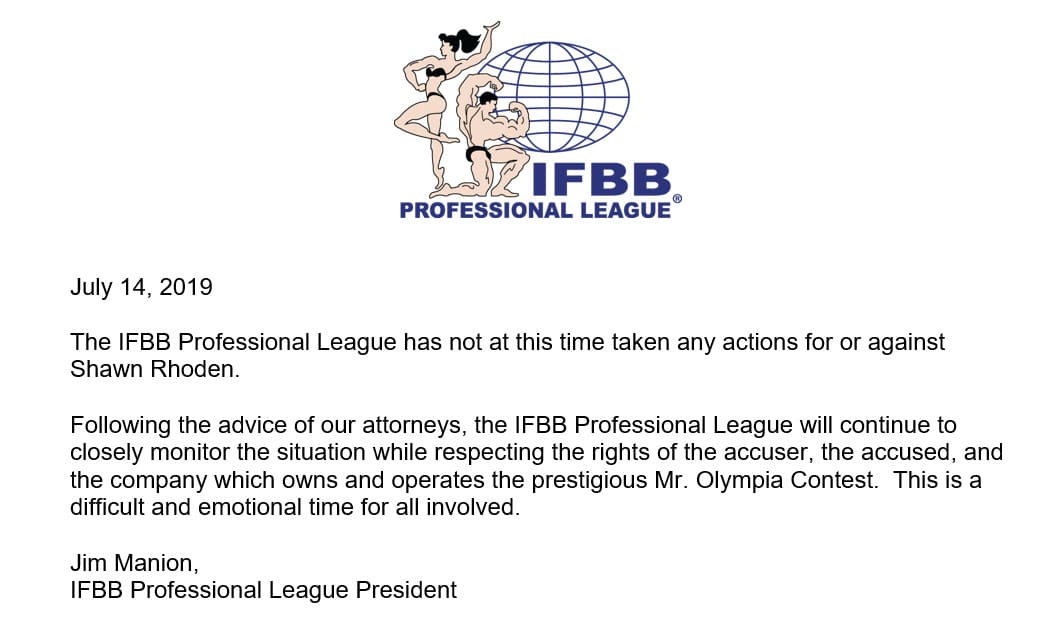 Ifbb Pro Statement Regarding Shawn Rhoden