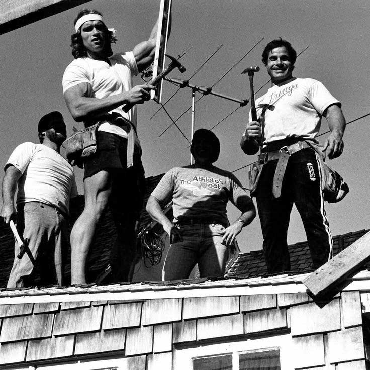 Arnold Schwarzenegger And Franco Columbu When They Had A Bricklaying And Patio Business Called European Brick Works