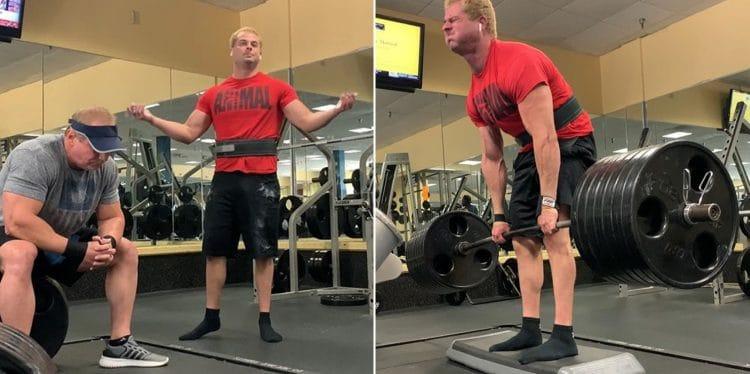 Gym Goer Sits On Evan Kardon Loaded Barbell in protest