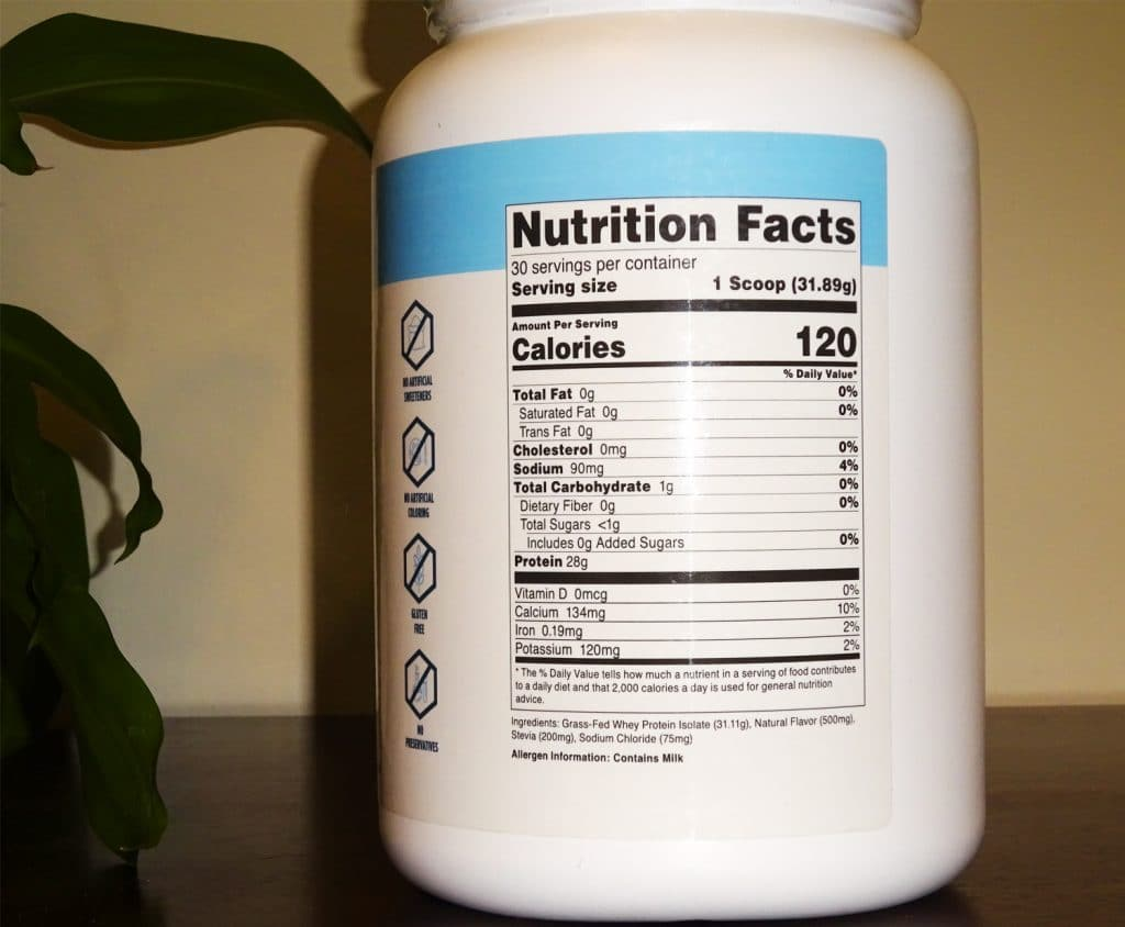 Proteinseries Whey Protein Isolate Nutrition Facts