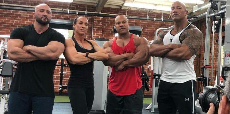 Phil Heath Trains Arms Wth Rock