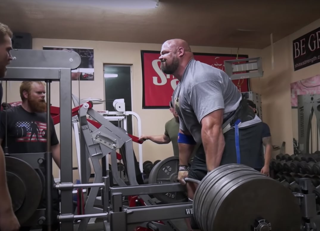Brian Shaw Belt Squat Rack Pull