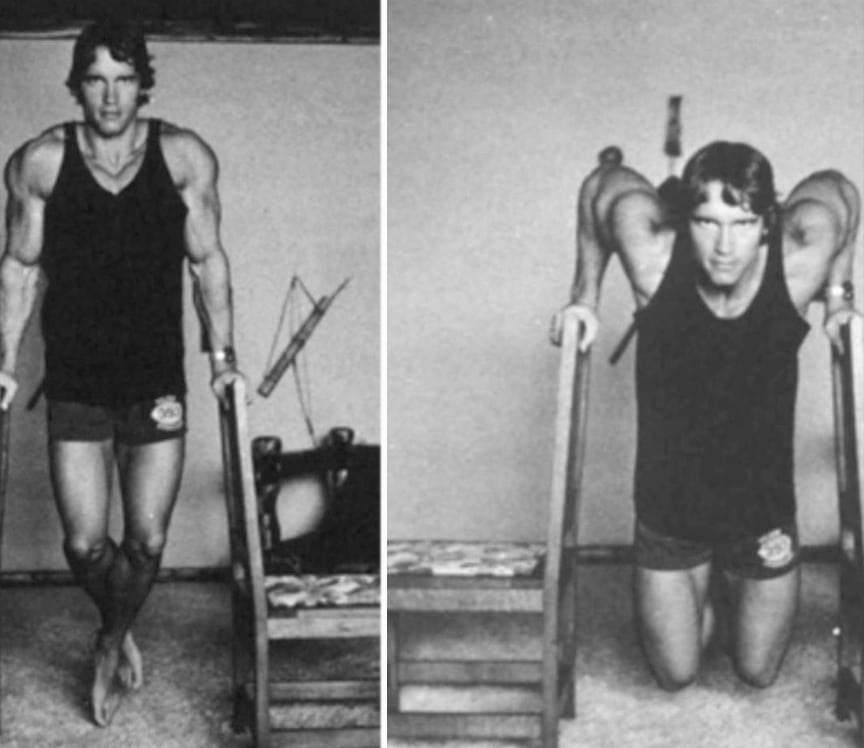 Arnold Doing Dips At Home