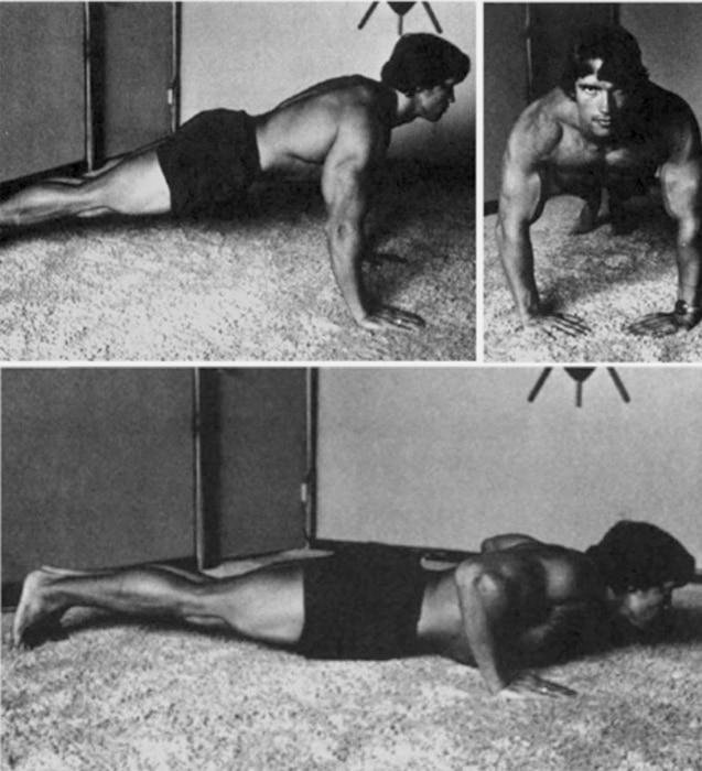 Arnold Doing Pushups