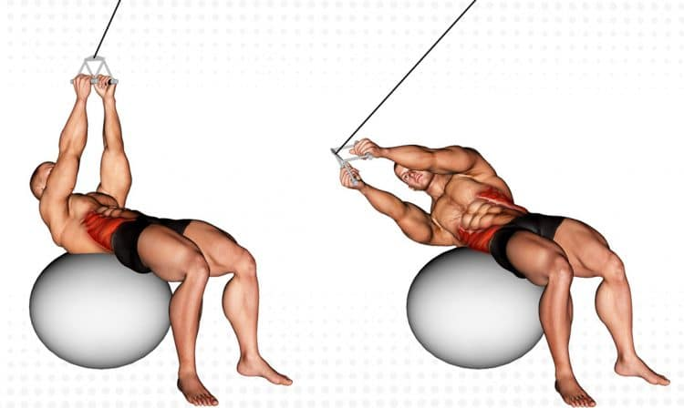 Cable Russian Twists With A Stability Ball