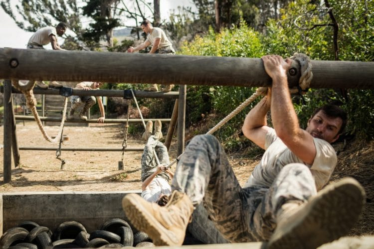 Military Soldiers Rope Climbing