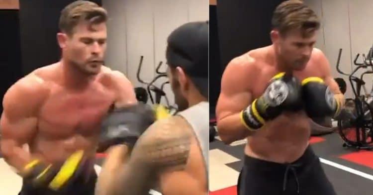 Chris Hemsworth Pad Workout