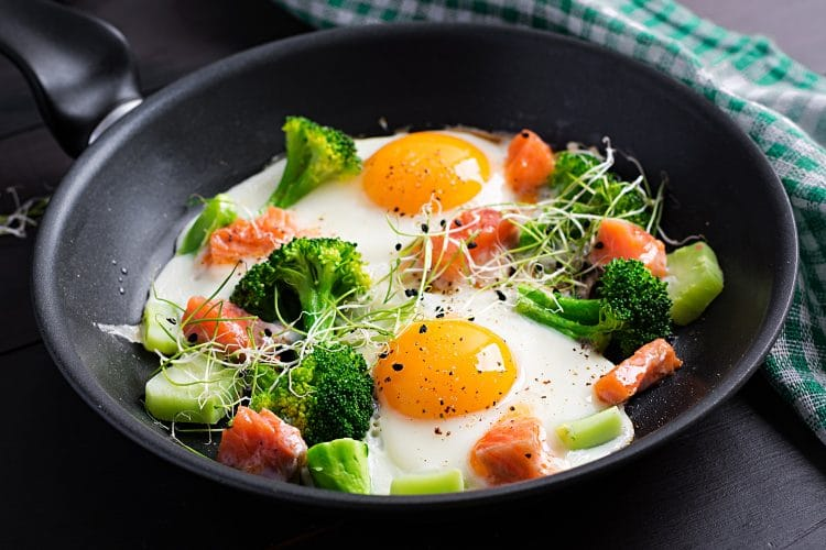 Fried Eggs Salmon Broccoli