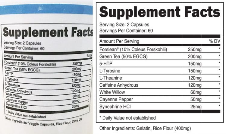 Transparent Labs Physiqueseries Fat Burner Supplement Facts Label
