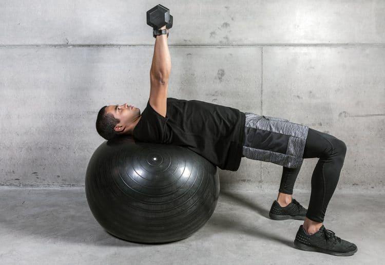 Dumbbell Stability Ball Press