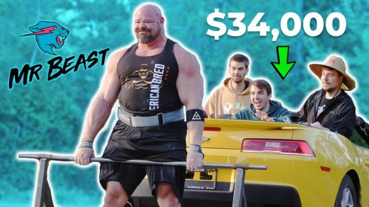 Strongman Brian Shaw with Mr. Beast