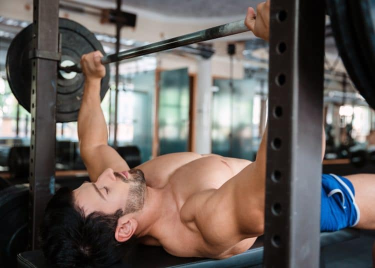 Bodybuilder Doing Bench Press