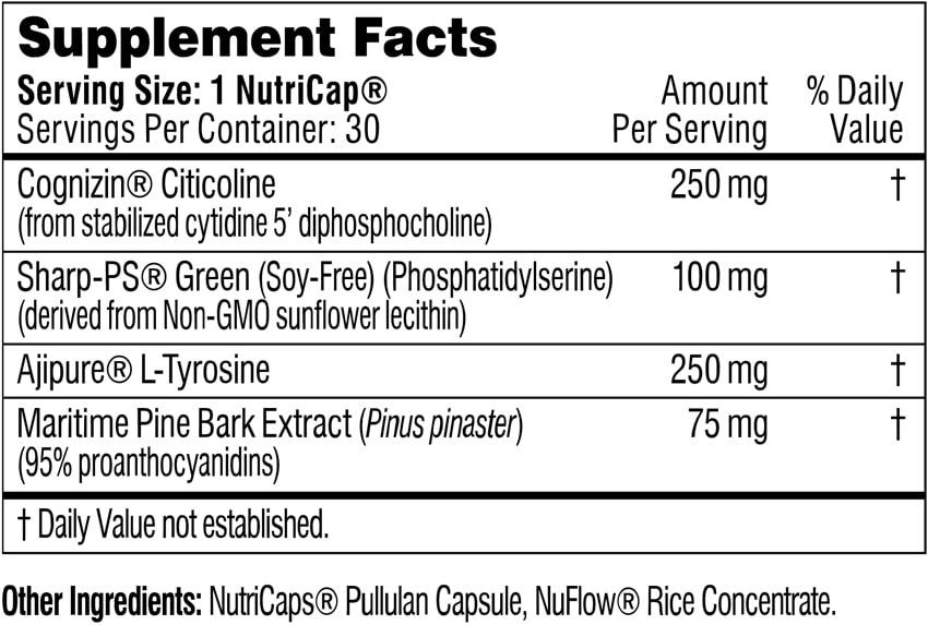 Performance Lab Mind Ingredients