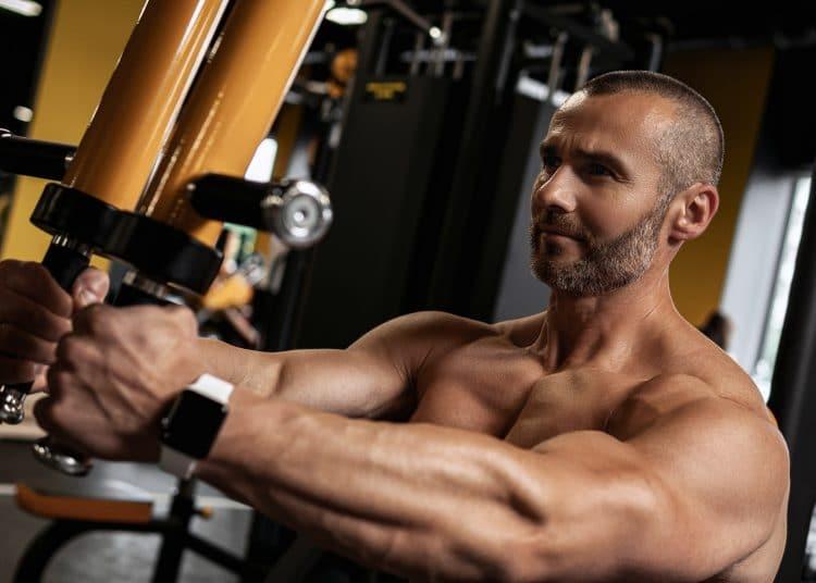 Bodybuilder Doing Pec Deck Exercise